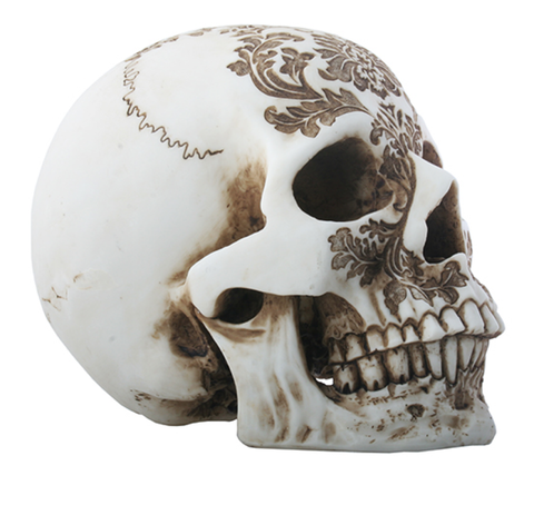 Damask Resin Carved Skull