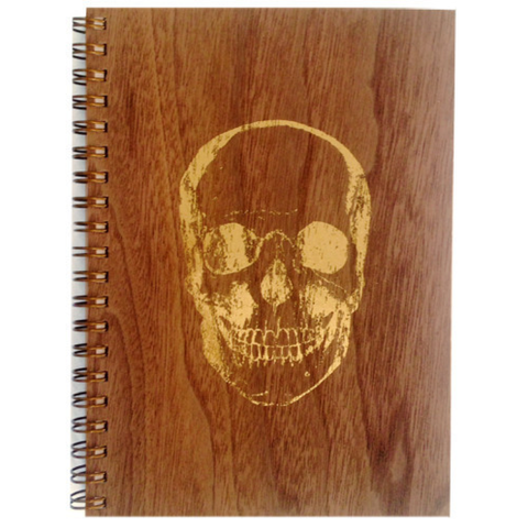 Gold Skull Wood Notebook
