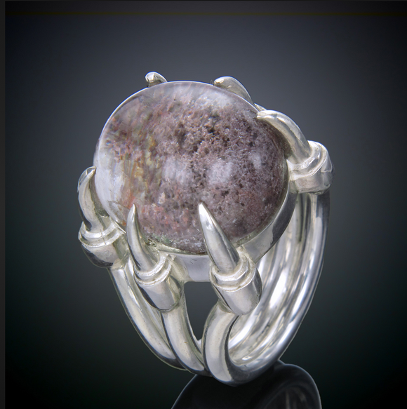 Sterling Claw Lodolite Ring
