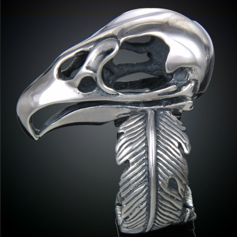Sterling Vulture Skull Ring