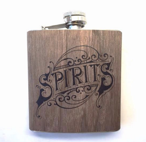 Spirits Wood Covered Flask
