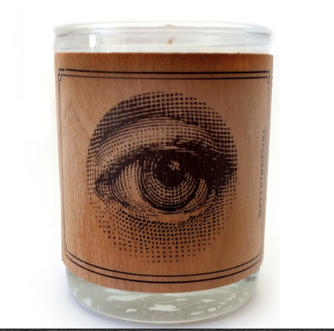Wood Covered Votive Eye Candle