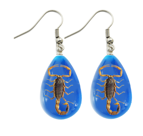 Golden Scorpion Lucite Blue Earrings