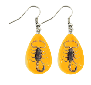 Golden Scorpion Lucite Amber Color Earrings