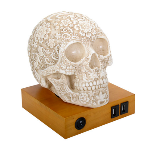 Floral Resin Carved Skull Lamp