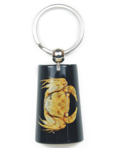 Crab on Black Lucite Keychain