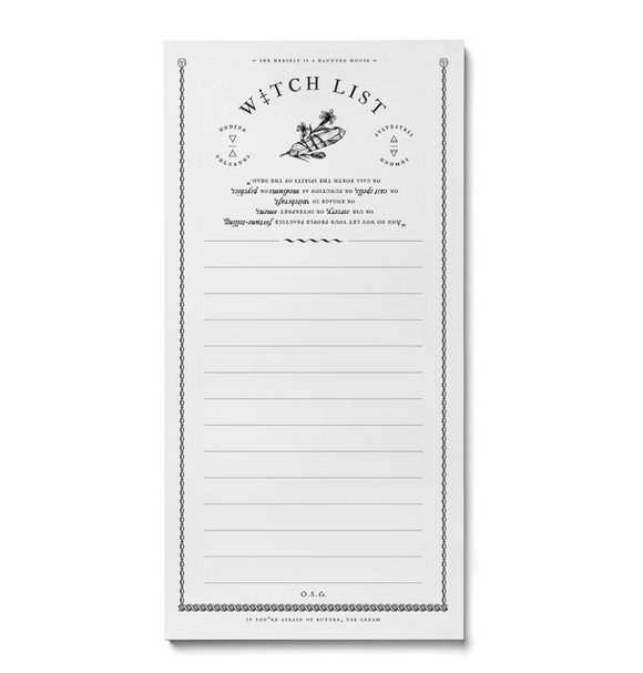 Witch List Note pad