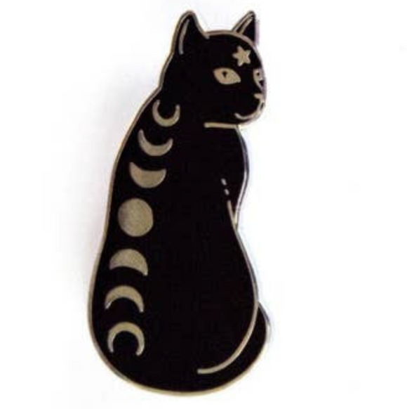 Moon Phases Black Cat Pin