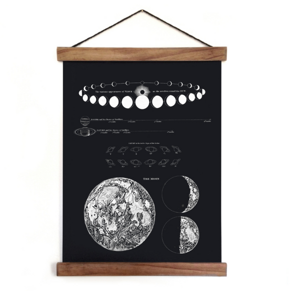 Pull Down Chart - Moon Phases Print Celestial Map - Vintage Reproduction Canvas Hanging Chart by Alexander Jamieson