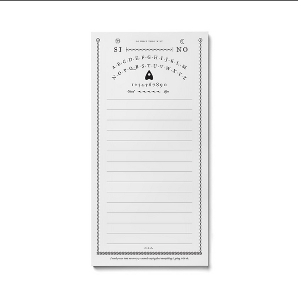 Spirit Board Note pad