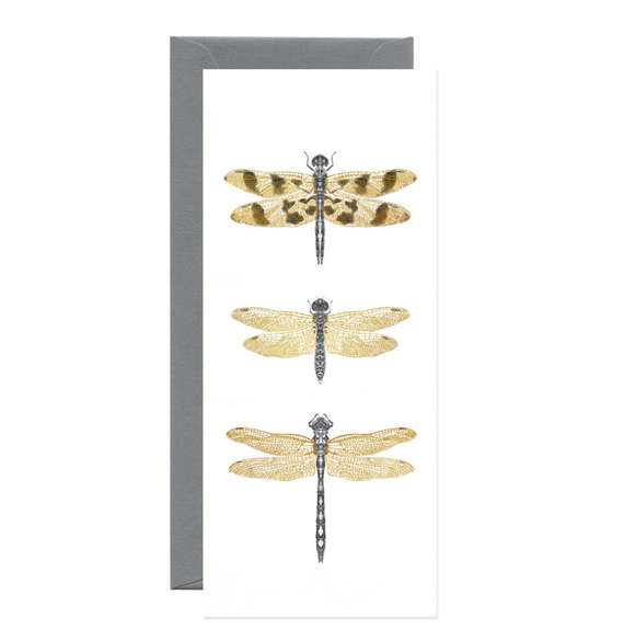 Dragonflies Gold Foil Long Gift Card
