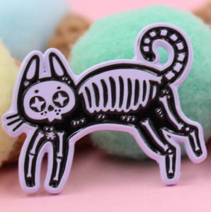 Cat Skeleton Enamel Pin