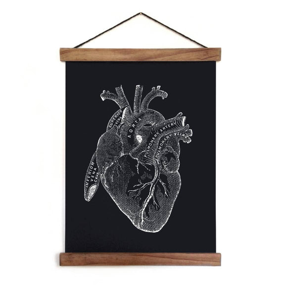 Pull Down Chart - Vintage Anatomical Heart Diagram Canvas Hanging Print