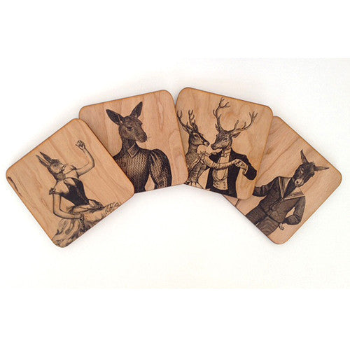 Wood Animal Coaster Set