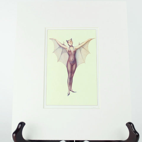 "Matted Antique Repro Bat Lady Image 8"" x 10"""