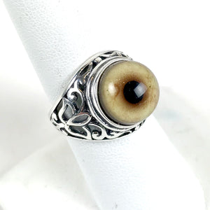 Victorian Inspired Sterling Filigree Bobcat Taxidermy Eye Ring