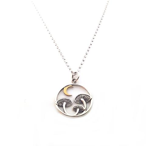 Mushrooms & The Moon Sterling Necklace
