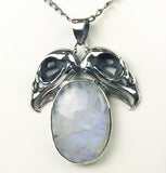 Double Vulture Skull Sterling Moonstone Necklace