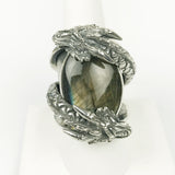 Double Dragon Labradorite Sterling Ring