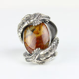 Double Dragon Pietersite Sterling Ring
