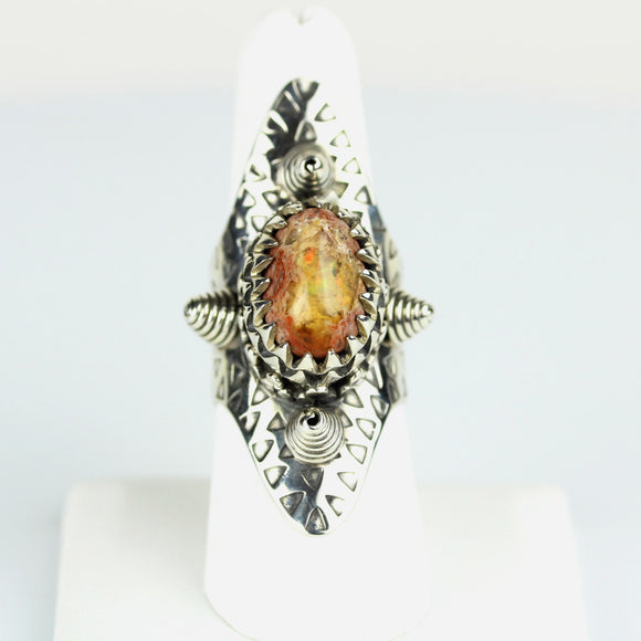 Sterling Fire Opal Shield Ring