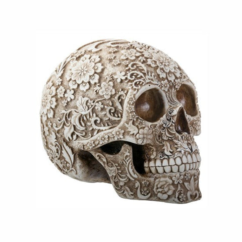 Floral Resin Carved Skull