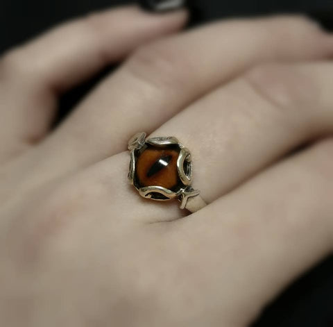 Fox Taxidermy Glass Eye Ring Sterling Loved To Death
