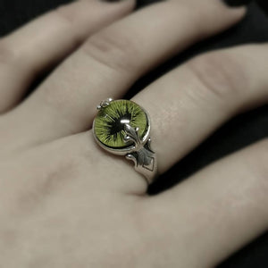 Green Feline Taxidermy Eye Sterling Ring