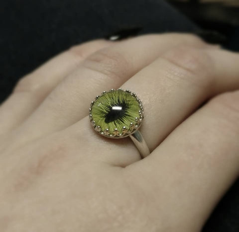 Feline Green Taxidermy Eye Sterling Prong Setting