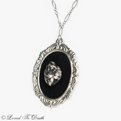 Black Sterling Squirrel Heart Cameo Necklace