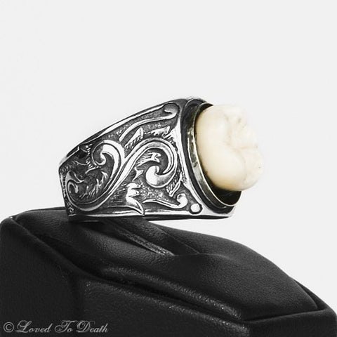 Antiqued Sterling Silver Victorian Inspired Scroll Work Band Human Tooth Ring