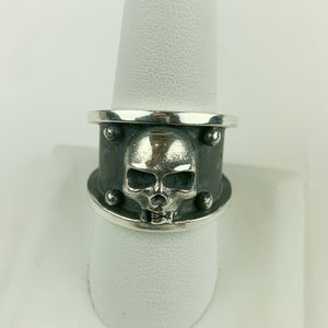 Sterling Silver Skull Thick Band Ring