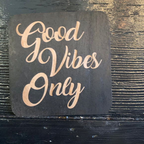Wood Good Vibes Only Coaster Set