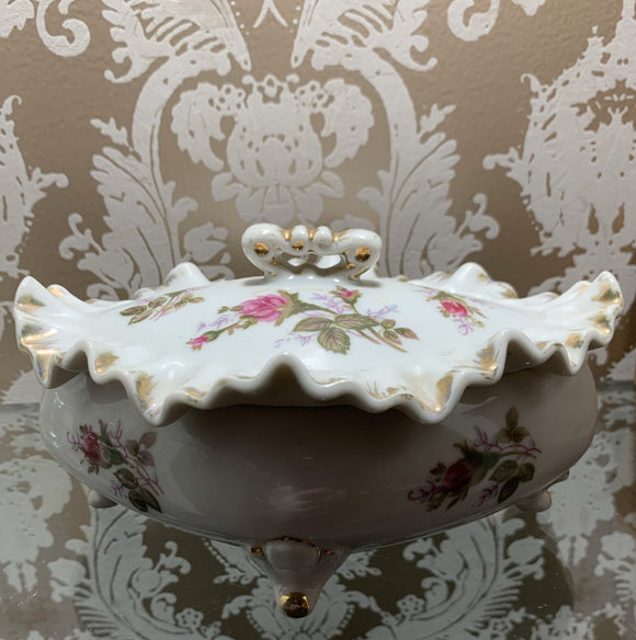 Antique Floral Ruffled Edges Stash Box & Ashtrays