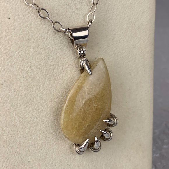 Rutilated Quartz Sterling Claw Necklace