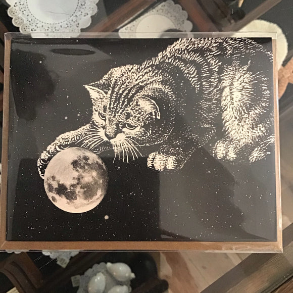 Cat Pawing Moon Gift Card