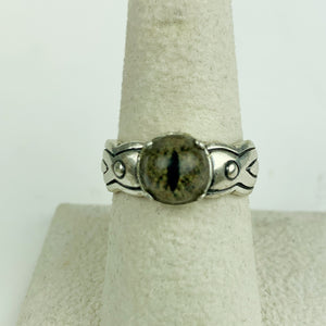 Sterling Green Snake Reptlie Eye Ring