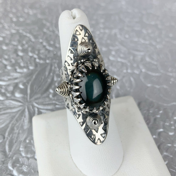 Sterling Rainbow Obsidian Shield Ring