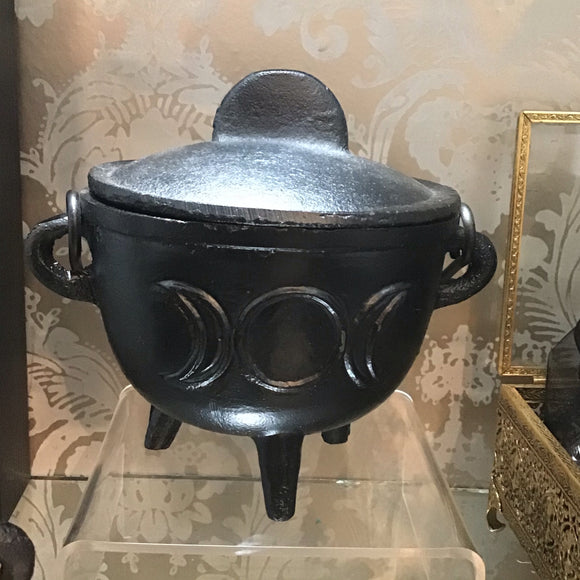 Black Cast Iron Triple Moon Cauldron 5""