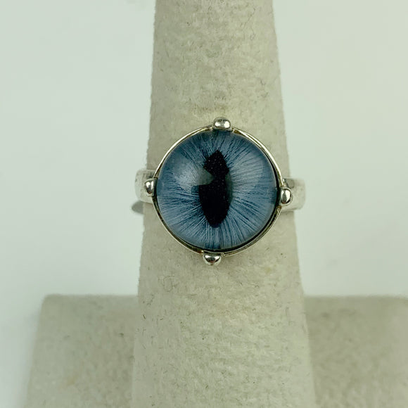 Taxidermy Feline Eye Blue Sterling Ring