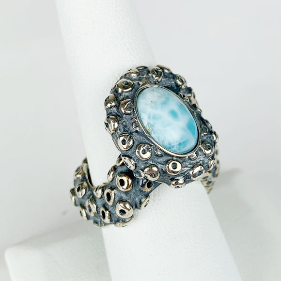 Sterling Octopus Tentacle Larimar Ring