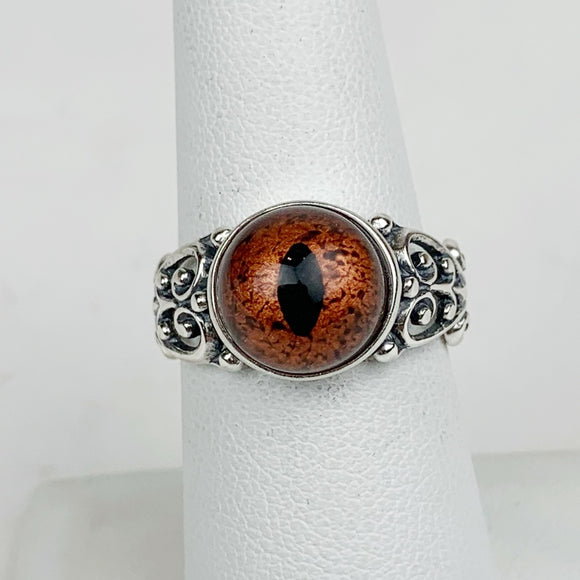 Sterling Reptile Copper Eye Ring Filigree