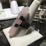 Double Terminated Rose Quartz Sterling Double Banded Ring