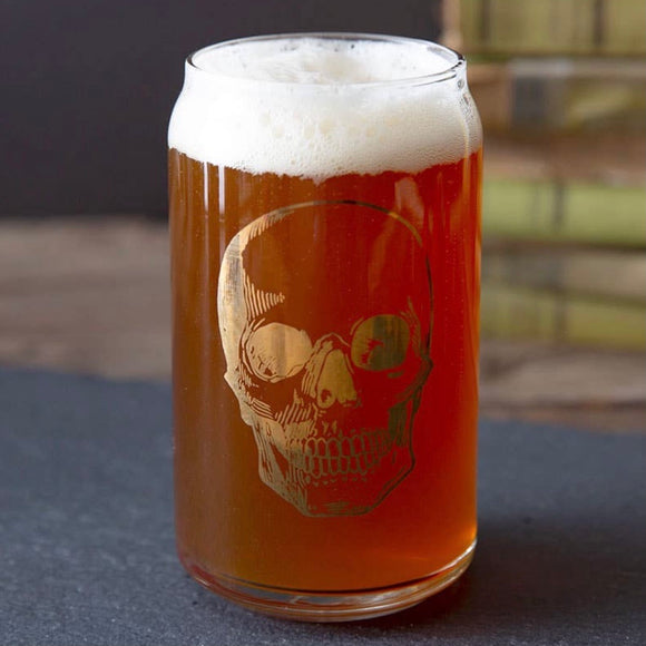Gold Foil Skull Beer Can Glass