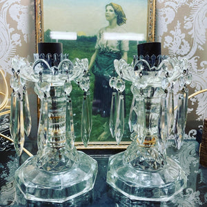 Antique Crystal Budoir Lamp Set