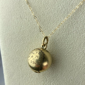 Antique Gold Filled 1923 Baseball Necklace Spalding