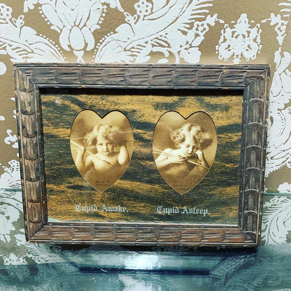 Antique Awake Asleep Cupid in Wood Frame - 1897 M. B. Parkinson