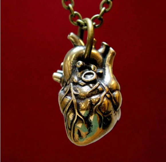 Anatomical Heart Pendant - Solid Bronze