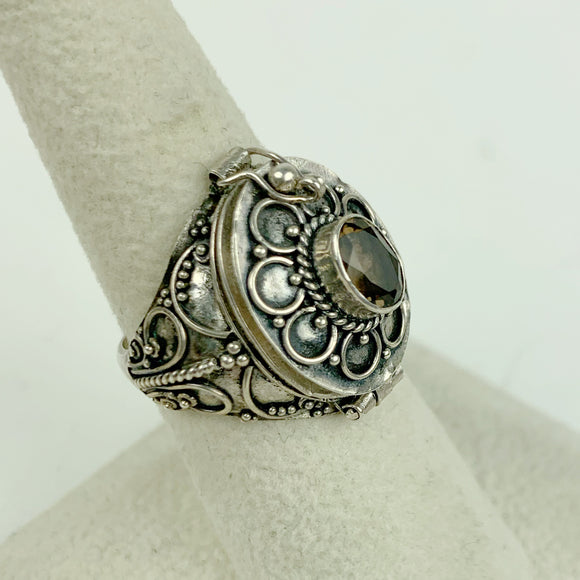 Sterling Smokey Quartz Large Poison Ring
