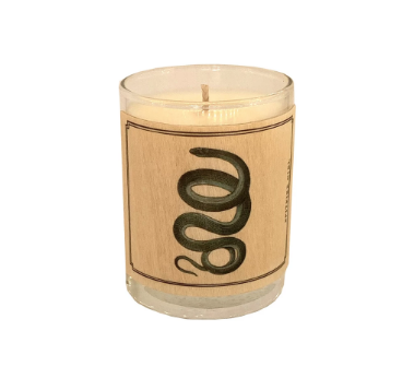 Wood Covered Snake Candle